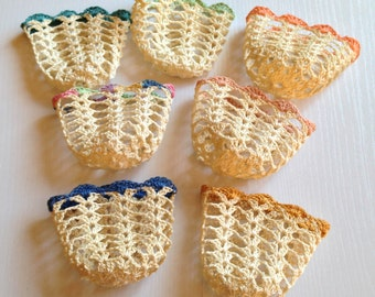 Set of 7 Vintage Crocheted Glass Holders