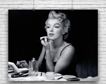 Marilyn Monroe, Elegant Photograph, Applying Make-Up in Front of Mirror, Photography Poster