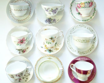 Mismatched Tea Cup Collection, Set of 9, Vintage Teacups, Cups and Saucers, Bone China, Tea Party Set, Floral Tea Service, Cottage Farmhouse
