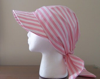Baseball Style Chemo Sun Hat with Ties for Women Pink and White Cotton Fabric Ready to Ship Cancer Patient Gift