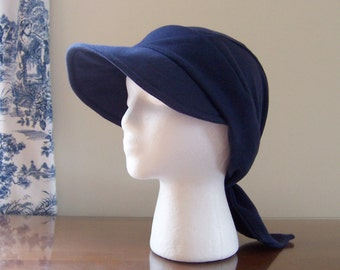 Baseball Style Chemo Cap with Ties in Navy Blue Cotton Knit for Women Ready to Ship Donation Made to Cancer Society