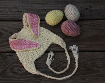 Bunny Hat, 12 month Bunny Hat, Long Ear Bunny Hat, Floppy Ear Bunny Hat, Girls Bunny Hat, Bunny Bonnet, Crochet Bunny Hat, Easter Bunny Hat