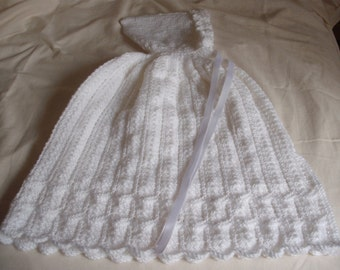 hand knitted baby cape 0 to 12 months King cole DK wool in white