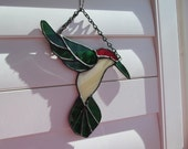 Stained Glass Hummingbird Sun Catcher - Handcrafted Authentic Stained Glass - Right Facing Position