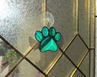 "Stained Glass Paw Print ""Paws To Remember"" Angel - Teal and White Wispy Glass  Memorial Marker -Personalized Hand Stamped Tags now Available"