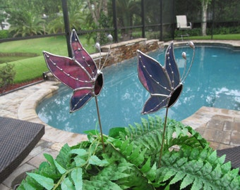 Grape White Wispy Iridescent Stained Glass Side View Butterfly Plant/Garden Stake with Decorative Soldering Accent - Twisted Wire Antennae