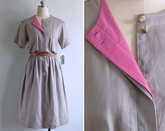 20% CNY SALE - Vintage 80's 'Pop of Pink' Khaki Military Cotton Dress S or M