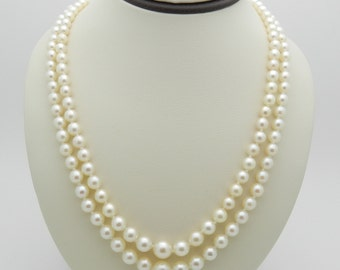 "MIKIMOTO Estate Vintage Double Pearl Strand 19"" Graduating Pearls"