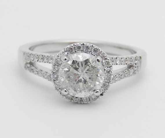 1.39 ct Diamond Halo Engagement Ring 18K White Gold Ring Round Brilliant Natural Diamond Ring Size 6.5