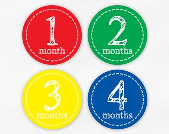 Baby Monthly Stickers for Photos - Primary Colors Set of Waterproof Tear Resistant Stickers for Baby Boy in Red Green Yellow Blue (6001-3)