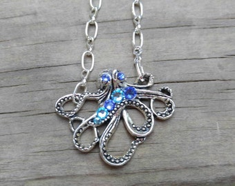 Octopus necklace Nautical jewelry for women Ocean jewelry silver necklace  jewelry / pirate necklace / Under the Sea collection #NBE01