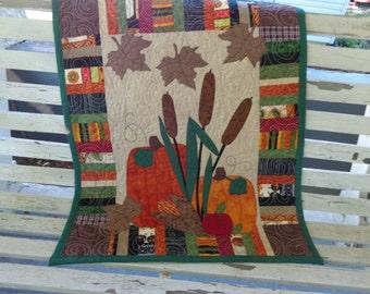 Fall Quilt,  Pumpkin Wall Quilt, Harvest Quilt 0529-01