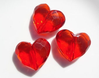 29mm Red Heart Beads, 3CT.