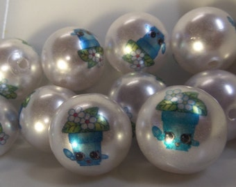 20mm, 10CT, Shopkin Inspired Pearl Beads, Acrylic Beads, Round, Solids, H4
