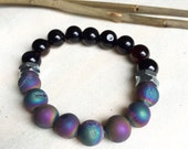 Handmade Black Agate & Rainbow Druzy Quartz Bracelet with Stainless Steel Hexagonal Industrial Bead.