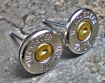40 Caliber Winchester Nickel Bullet Head Thin Earrings Wedding Bridal Earrings Free Shipping