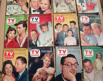 very nice CLEAN lot of 12 vintage 1956 TV GUIDES