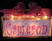 Your Name in Lights Cameron Glass Block Light