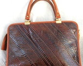 Caprice Vintage Purse ~ Reptile ~ Brown tones ~ Leather trim ~ Double Swing Handles ~ Metal Zipper ~ Attache Style