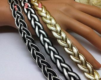 "5 yard 1.3cm 0.78"" black/white/silver/gold tapes braided lace trim ribbon rt2wd free ship"