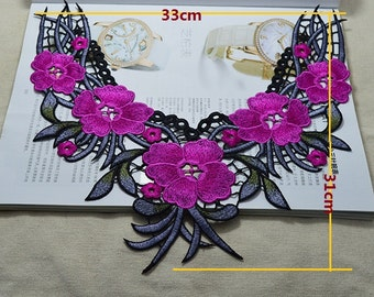 2pcs vintage embroidered craft collar appliques patches niy978 free ship