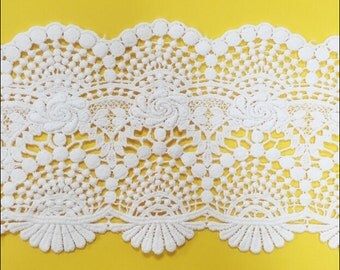 """3 yard 12cm 4.72"""" wide ivory cotton fabric embroidered tapes lace trim ribbon bb56j free ship"""