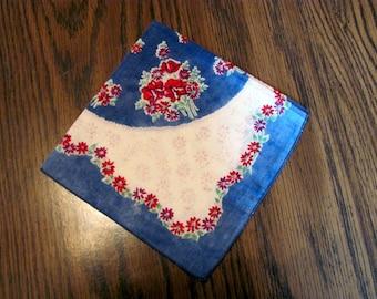 1 Ladies Hanky,  Denim Blue with Red Flowers Hanky / Ladies Handkerchief