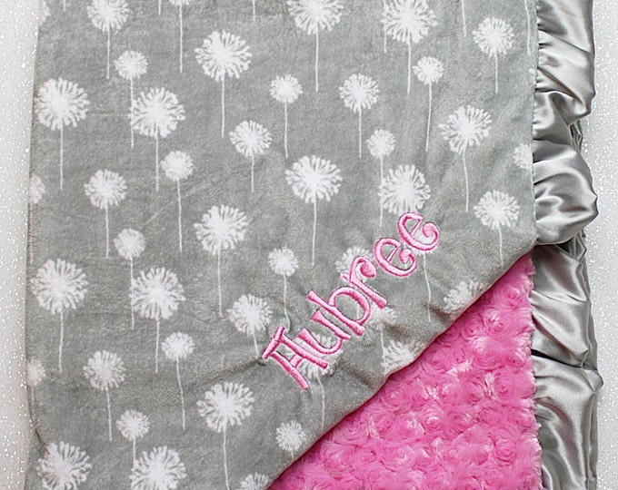 Embroidered Minky Blanket, minky baby blanket, personalized baby blanket, baby girl, minky blanket, dandelion, hot pink, grey, baby gift