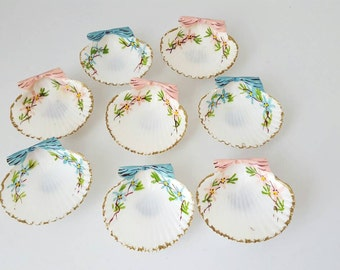 Vintage Hand painted Sea Shells In Pink and Blue