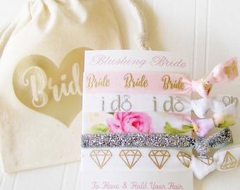 Blushing Bride Hair Tie Gift Set, Gifts for Bride, Bridal Shower, Wedding Day Survival Kit, Bride Hair Tie, ponytail holders elastics