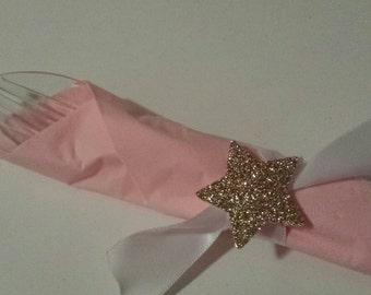 Twinkle Twinkle little star Baby Shower Birthday Party Ribbon Napkin Rings (12) Custom Made to Match