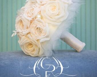 Ivory  Bouquet - Bridal Fabric Bouquet - Bridal Brooch Bouquet, Wedding Bouquet, Fabric Flower Bouquet, Handmade Bridal Bouquet,
