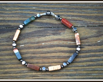 Men's Fancy Jasper Bracelet, Jasper Rectangle Bead Bracelet, Rectangle Stone Bracelet, Jasper Rectangle Tube Bracelet