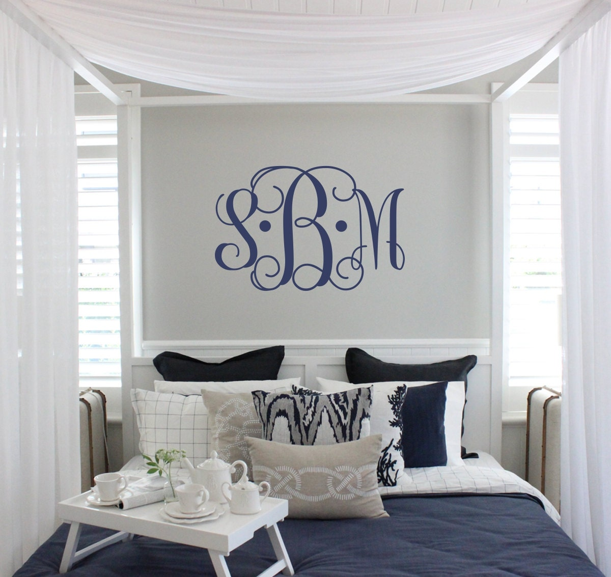 Vine Monogram Decal | Large Monogram Wall Decal | Master Bedroom ...