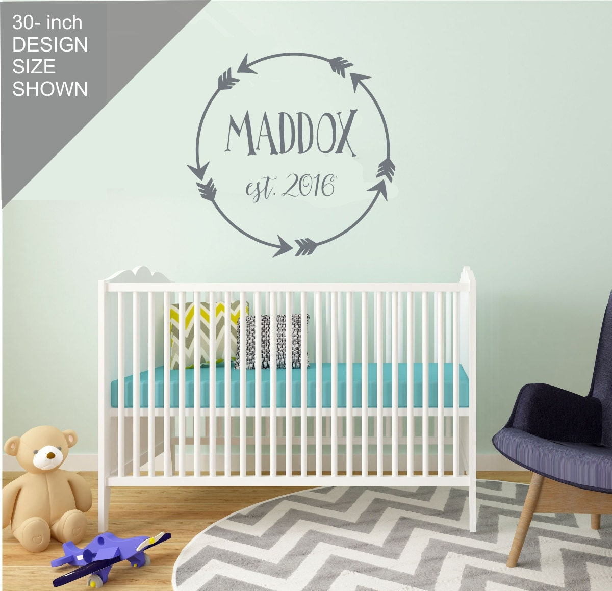 Boy nursery wall decal personalized boy nursery decor for Baby room decoration wall stickers