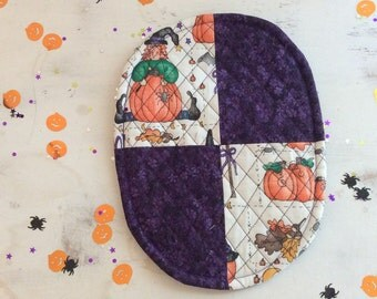 Oval Trivet Quilted Halloween Motif Orange Pumpkins Brown Leaves Purple Flowers Reversible Party Gift Fall Decor Hostess Gift  Teacher Gift