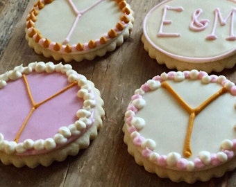 Monogram Wedding Bridal Sugar Cookies Iced Decorated Favors Gifts