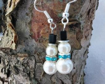 Snowman Pearl Earrings