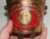 "Antique CHISCA BRAND PEANUT Butter Tin 3"" Indian Brave Logo Primitive Bucket/Pail Maury Cole Co"