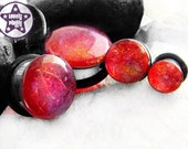 """Dragon's Breath Fauxpal Red Translucent Plug / Gauge ONE Plug Only 1/2"""", 9/16"""", 5/8"""", 11/16"""" / 12mm, 13mm, 14mm, 16mm, 18mm"""