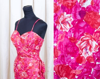 1950's Dress // Hawaiian Hibiscus Floral Print Sarong Bombshell Wiggle Dress by Nani of Hawaii
