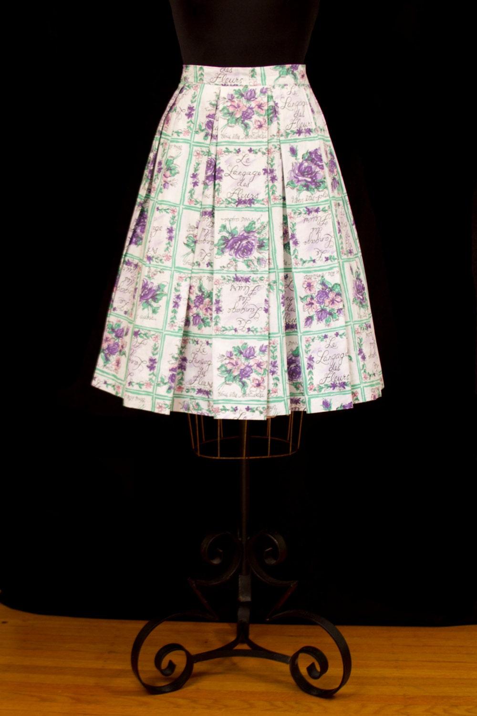 1950s skirt french novelty print les langage des fleurs for Langage des fleurs