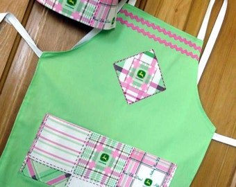 GIRL'S LIME Green with pink PLAID John Deere fabric- Size Lg