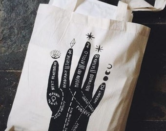 modern concerns/palmistry screenprinted tote bag