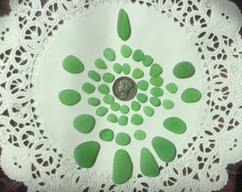 44 Green Genuine Beach Sea Glass pendants GR-J24-45