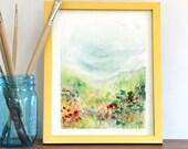 Watercolor Print, Landscape, Fine Art, Floral, Modern Art, Ink, Minimalist, Garden Floral, Abstract Art, Bohemian