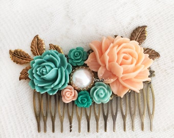 Bridal Hair Comb, Peach Turquoise Flowers, Beautiful Wedding Headpiece, Orange Teal Romantic Hair Adornment for Bride, Large Flower Comb