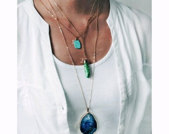 Gold Layered Necklaces Long Stacking Necklaces Set Blue Teal Aqua Ombre Turquoise Gemstone Rustic Forest Pine Green Arrow Geode Agate C1