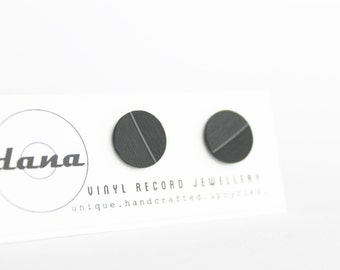 16 Mm Recycled Vinyl Record Ear Posts Simple Black Studs