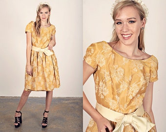 Vintage 50s Tapestry Dress Yellow Gold Bow Party